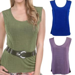 Wholesale Slinky Travel Tops<br>Sleeveless<br>One Size (S-L)<br>Plus Size (XL-2X)