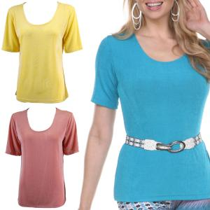 Wholesale Slinky Travel Tops<br>Short Sleeve<br>One Size (S-L)<br>Plus Size (XL-2X)