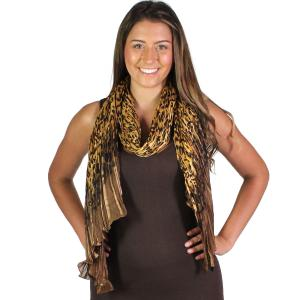 Wholesale Oblong Scarves<br>Pleated Leopard<br>1003