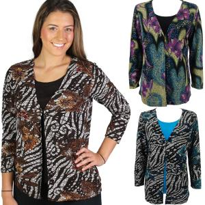 Wholesale Slinky Travel Tops<br>Mock Cardigan<br>One Size (S-L)<br>Plus Size (XL-2X)