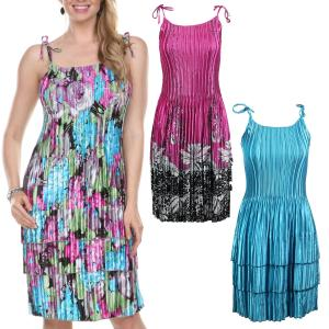 Wholesale Satin Mini Pleats<br>Spaghetti Dress<br>One Size (S-XL)