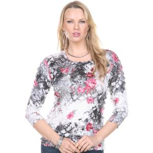 Wholesale Satin Petal Shirts<br>Three Quarter Sleeve<br>One Size (S-XL)