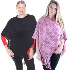 Wholesale Poncho<br>Wave Overlap Knit<br>4102