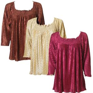 Wholesale Wave Satin Mini Pleats<br>Three Quarter Sleeve<br>One Size Fits All