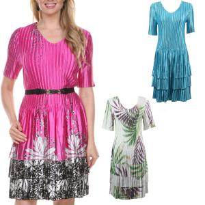 Wholesale Satin Mini Pleats<br>Half Sleeve Dress<br>One Size (S-XL)