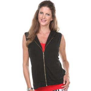 Wholesale Slinky Travel Zipper Vest<br>with Hood<br>One Size (S-XL)<br>Plus Size (XL-2X)