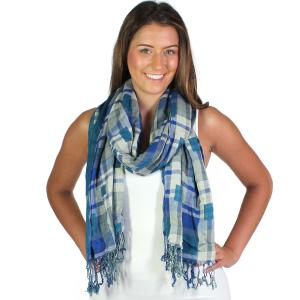 Wholesale Oblong Scarves<br>Long Plaid Reversible<br>1111