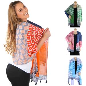 Wholesale Big Scarves/Shawls<br>Greek Key Pattern<br>4125