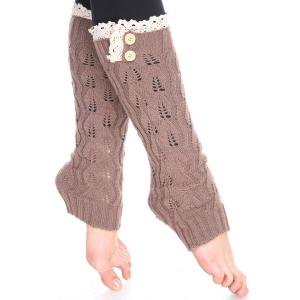 Leaf Pattern Leg Warmers<br>with Buttons & Lace<br>264x105