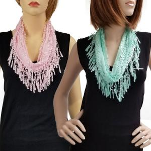 Wholesale Infinity Scarves<br>Victorian Lace Confetti<br><font color = red><b>NEW COLORS</font></b>