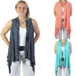 Wholesale Jersey Knit Vests<br>Striped<br>8557