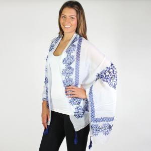 Wholesale Shawls<br>Tasseled Delft Print<br>184