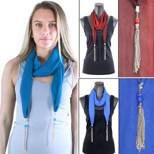 Wholesale Silky Dress Scarves<br>Metal Tassel<br>8015
