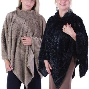 Wholesale Poncho<br>Rippled Faux Fur<br>8660