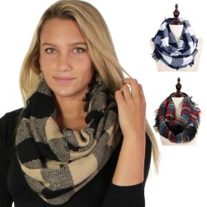 Wholesale Infinity Scarves<br>Woven Plaid<br><b><font color = red>NEW COLORS</b></font>