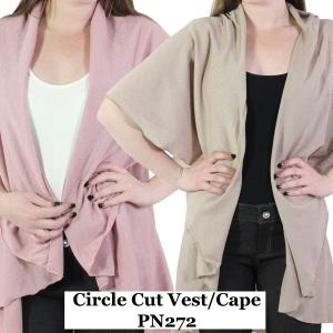 Wholesale Vest/Cape<br>Circle Cut Solid<br>PN272<br>(Style 1)