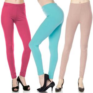 Wholesale Brushed Fiber Leggings<br>Ankle Length<br>Solids
