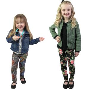 Wholesale Brushed Fiber Leggings<br>Kids Size Prints & Solids<br>6 Packs: 2 Each S, M, & L