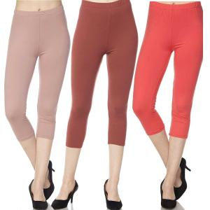 Wholesale Brushed Fiber Leggings<br>Capri Length<br>Solids