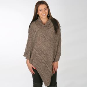 Wholesale Poncho<br>Multi Knit Turtleneck<br>8815