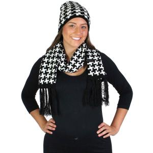 Scarf & Hat Set<Br>Acrylic Black & White