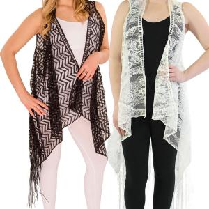Wholesale Vests<br>Lace with Fringe<br>1273 & 1274