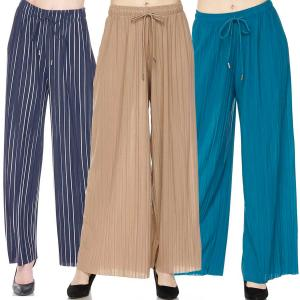 Wholesale Pleated Wide Leg Pants<br>Ankle Length<br>Georgette<br><font color = red><b>Prints & Solids</b></font>
