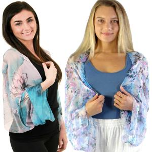 Silky Chiffon<br> Button Sleeve Shrug<br><font color = red><b>NEW COLORS</font></b>