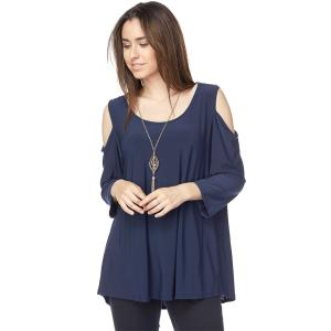Tunics<br>3/4 Sleeve Cold Shoulder<br>& Attached Necklace<br>16371