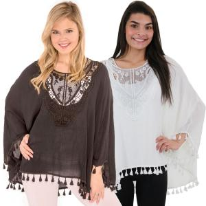 Wholesale Poncho<br>Embroidered w/ Tassels<br>8031