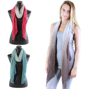Wholesale Oblong Scarves<br>Metallic Ombre Pleated<br>8092