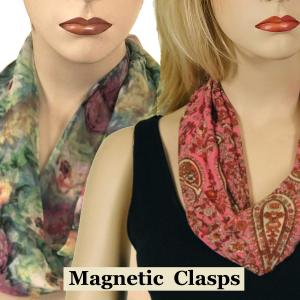 Wholesale Silky Dress Scarves<br>with Magnetic Clasp<br><font color = red><b>NEW COLORS</font></b>