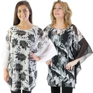 Wholesale Poncho<br>Chiffon Floral<br>1315 & 9291