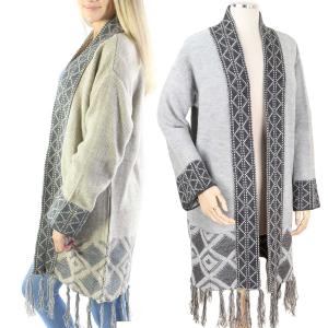 Sweater Cardigan<br>Geometric Pattern