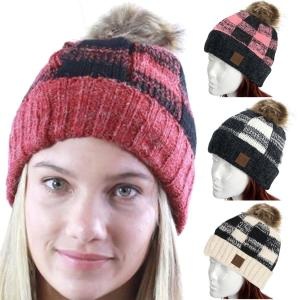 Knit Hat<br>Buffalo Check Pattern<br>8712