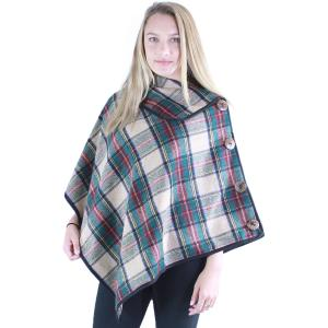 Poncho<br>Tartan Plaid<br>w/ Coconut Button<br>9050