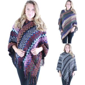 Wholesale Poncho<br>Woodstock Knit Multi Color<br>9151