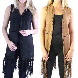 Wholesale Vests<br>Faux Suede Tasseled<br>8642
