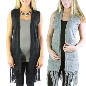 Wholesale Vests<br>Mid-Length Knit Tasseled<br>8643