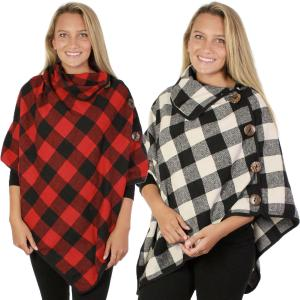Poncho<br>Buffalo Check<br>w/ Coconut Button<br>9209
