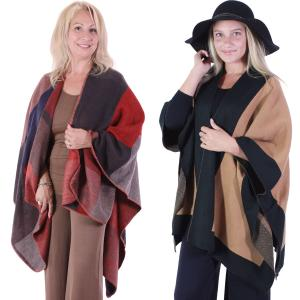 Winter Ruana Capes<br>Color Block & Two Tone