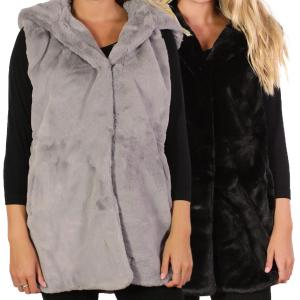 Wholesale Vests<br>Faux Mink w/ Hood<br>8482