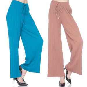 Pleated Wide Leg Pants<br>Ankle Length<br>Stretch Twill<br><font color = red><b>PRINTS & SOLIDS</b></font>