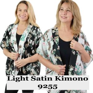 Wholesale Kimono<br>Light Satin<br>Flower Print<br>9255