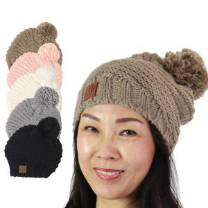 Hats<br>Stripe Knit with Pom Pom<br>9180