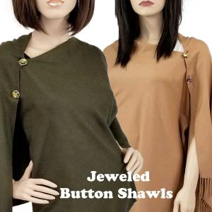Cashmere Blend Shawls<br>with Jeweled Buttons