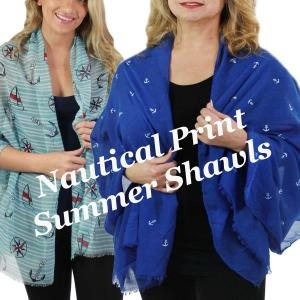 Wholesale Nautical Print<br>Scarves and Shawls