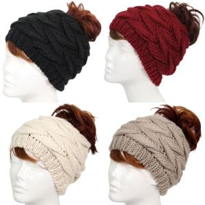 Wholesale Knit Beanie<br>Ponytail Messy Bun Style<br>9167 /JH222