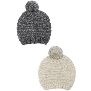 Wholesale Knit Beanie<br>Stripe Texture Pom Pom<br>9515