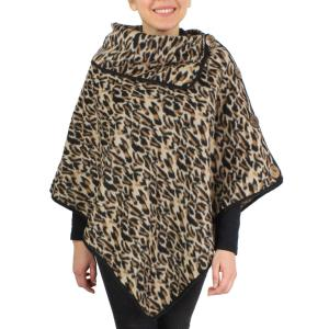 Wholesale Poncho<br>Leopard<br>w/ Coconut Button<br>9391